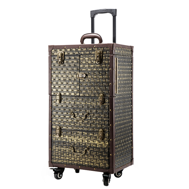 Luxe Nagels Make Toolbox, Kappers trolley bagage Vintage metal Travel Bagage tas, Beauty Tattoo Salons Trolley Koffer