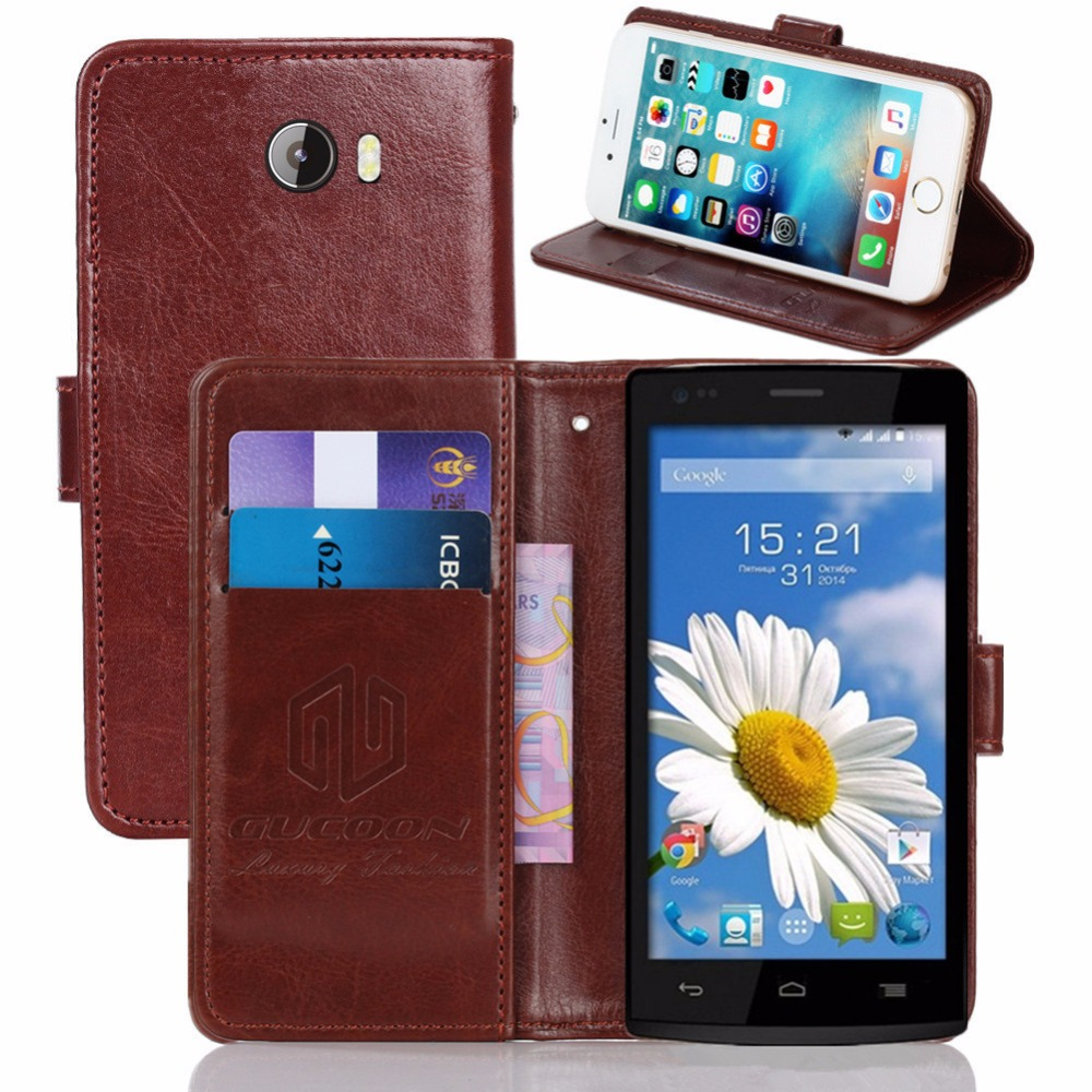 GUCOON Vintage Wallet Case for Fly IQ4505 ERA Life 7 5.0inch PU Leather Retro Flip Cover Magnetic Fashion Cases Kickstand Strap
