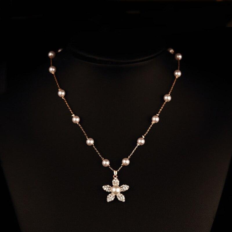 Real gold plated ABS pearl choker necklace luxury imitation diamond-jewelry flower pendant bijouterie china kolye free shipping