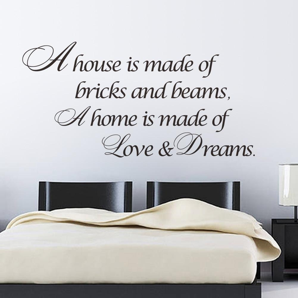 A House is made of bricks and beams A Home is made of Love and Dream proverb philosophy wall stickers-in Wall Stickers from Home & Garden on ...