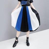 High Waisted Silk Skirt for Women Patchwork Color Mid Calf Skirt High Quality Pleated Skirts A Line Female School Skirt