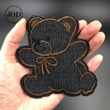 JOD@ Black Denim Bear Iron on Patches for Clothing DIY Jeans Stickers Embroidery Clothes Patch Applique Badges Children Blue