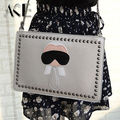 New Cartoon design personalized fashion Lafayette rivets envelope bag clutch purse handbags casual shoulder bag black & silver