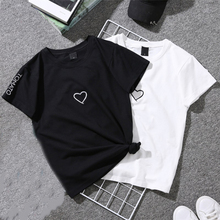 2019 Summer Couples Lovers T-Shirt For Women White Casual Tops Womens Love Heart Print Embroidery Ladies