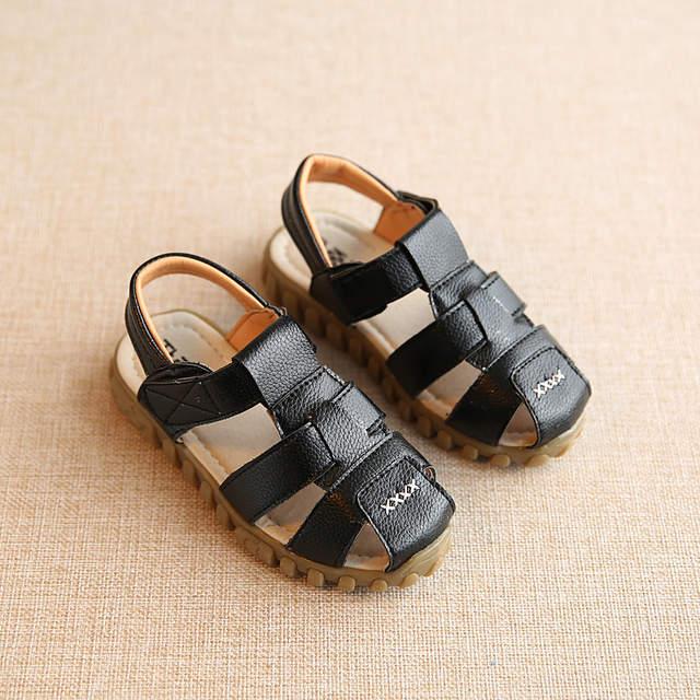 969ad2eefe93e placeholder Garçons Sandales Enfants Chaussures 2017 En Cuir Souple  Sandales Bébé Garçons D été Prewalker Semelle
