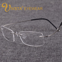 Titanium Eyeglasses Men Frames With Brand Logo Of S B Memory Rimless Glasses Women Myopia Spectacle