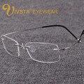 Titanium marcos de anteojos de los hombres con el logotipo de la marca de memoria de serie b sin montura gafas mujeres miopía ópticos de ivsta e1050