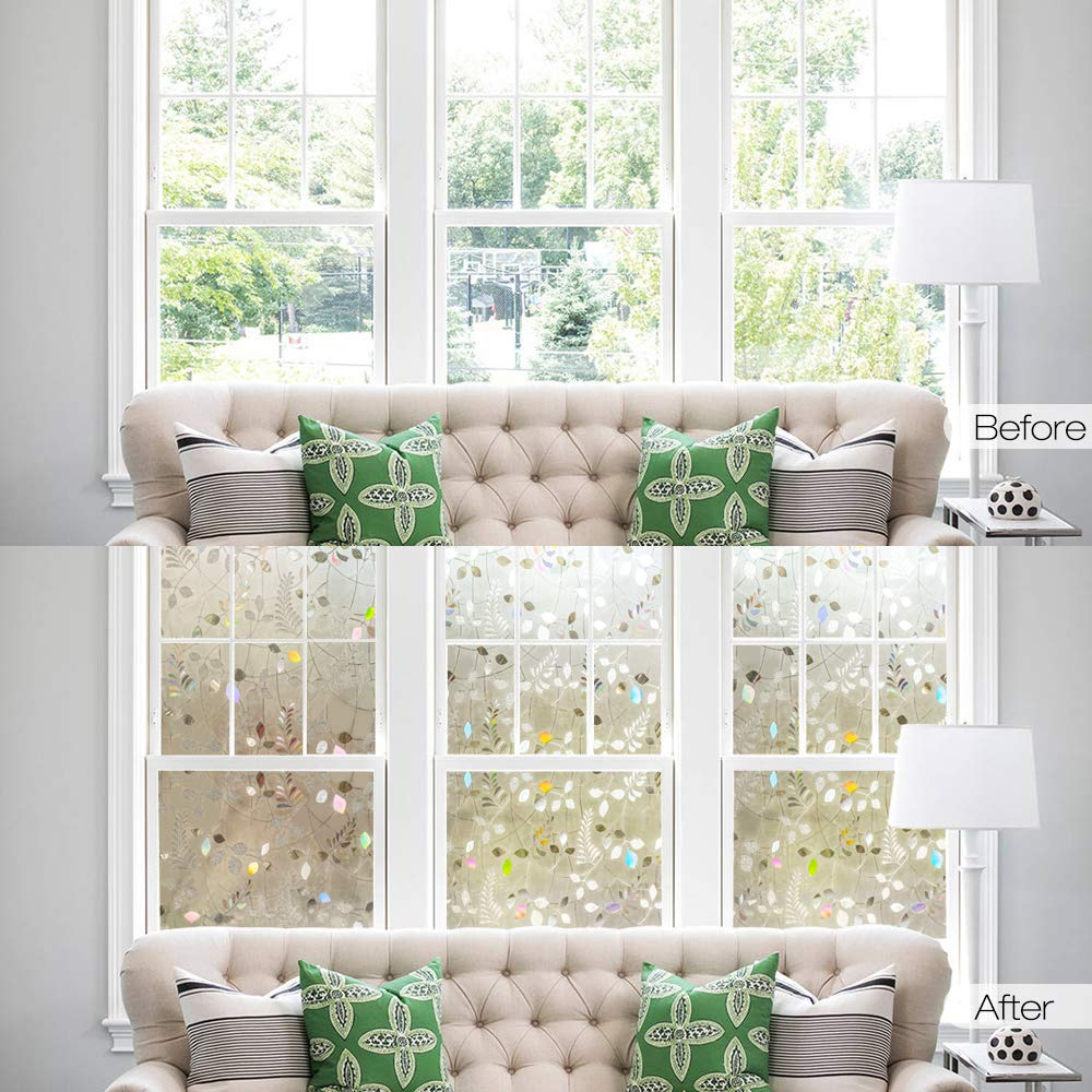 3D Laser Mimosa Leaf Self Adhesive Static Cling Window Film Bedroom Bathroom Frost Privacy Decorative Glass Window Sticker in Decorative Films from Home Garden
