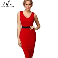 Nice Forever Casual Female Work Sexy Women Summer Dress Midi V Neck Gorgeous Knee Length Bodycon