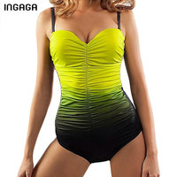 INGAGA 2017 Shirred One Piece Swimsuit Women S Swimwear Conservative Bathing Suits Monokini Summer Beach Bodysuits