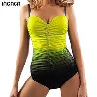 INGAGA 2017 Shirred One Piece Swimsuit Women S Swimwear Conservative Bathing Suits Monokini Summer Beach Bodysuits