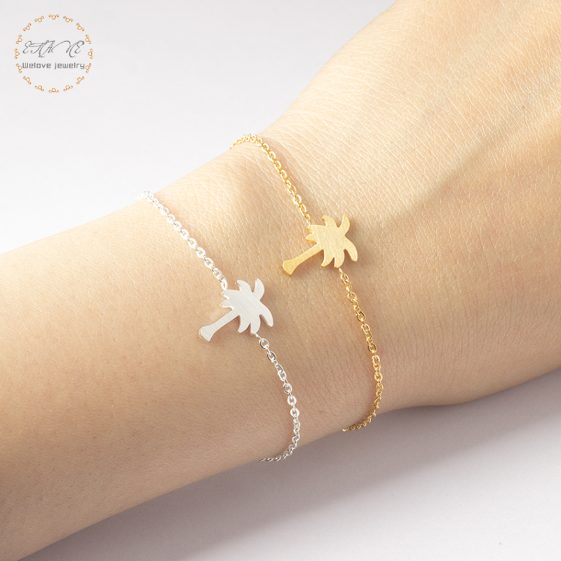 Tropical Plant Friendship Bracelet Rose Gold Palm Tree Bracelets For Women Beach Jewelry Stainless Steel Best Friend Gift 2019