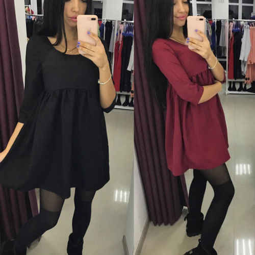 2017 Sexy Mini Dress Wanita Lengan Panjang Mode Bodycon Pendek Tinggi Pinggang O-neck Evening Party Doll Dresses