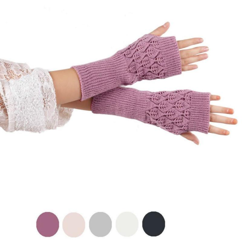 Women Winter Hollow Out Half Finger Knitted Gloves