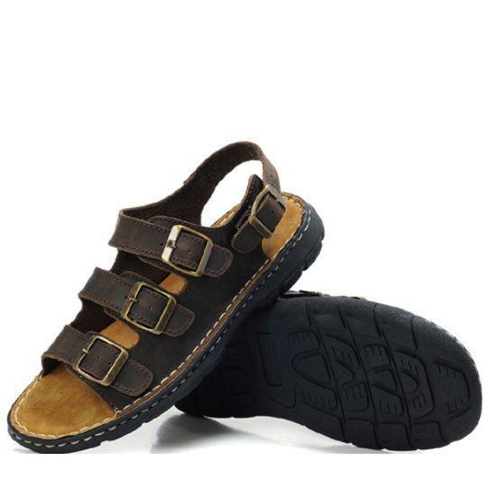 Hechos a mano 38-48 del cuero genuino sandalias de hombre zapatillas hombre zapatos de cuero de verano pantufas adulto M049