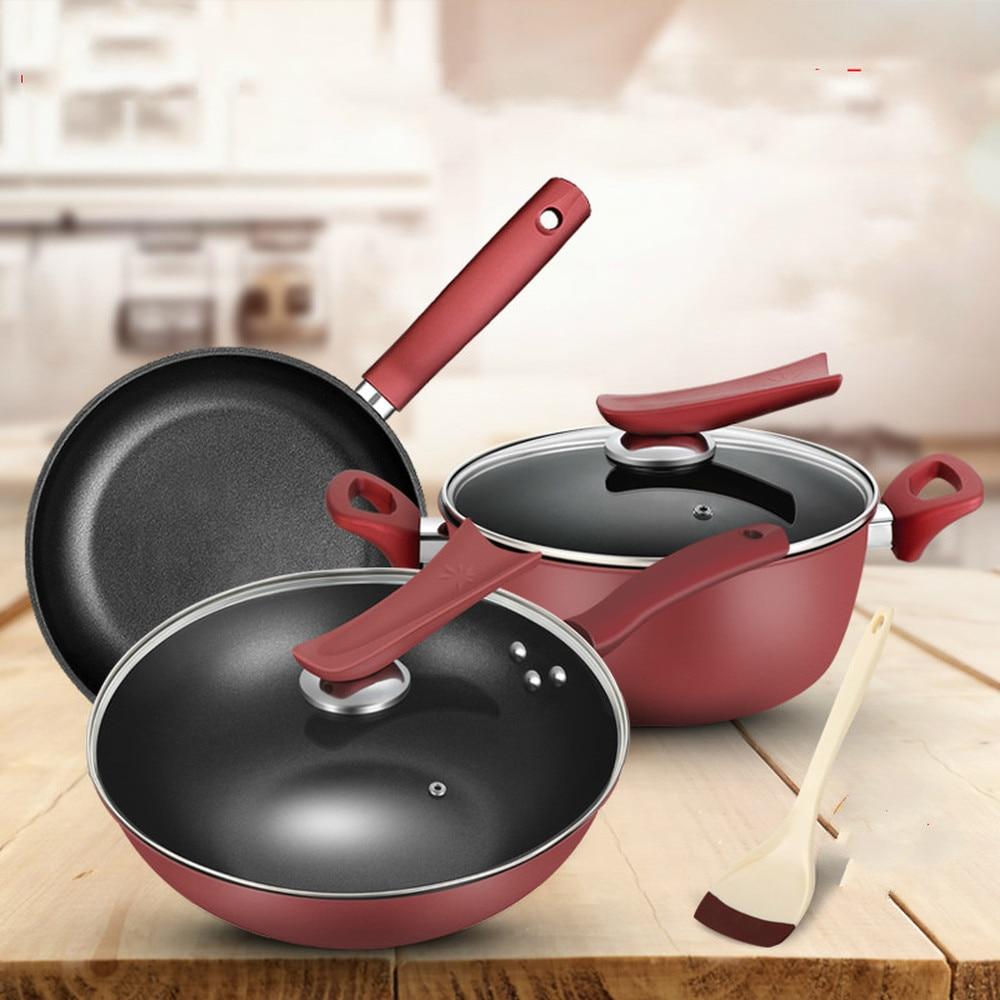 Casserole combinaison pot non-stick poêle à frire pan trois-pièce ensemble de ménage four à induction LM3161716