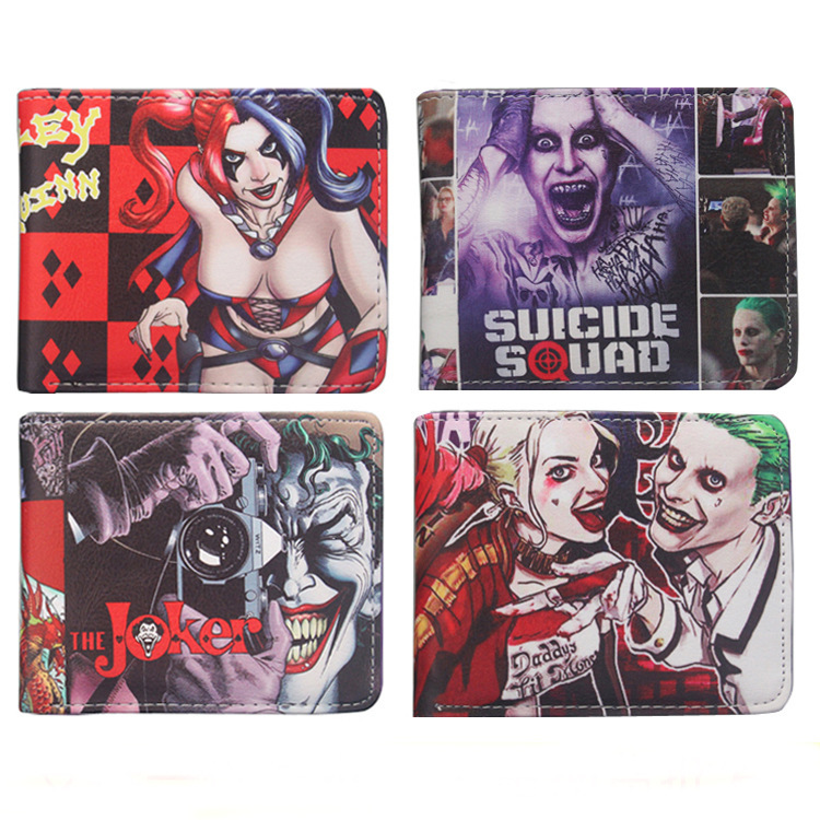 DC Comics Suicide Squad Wallet The Joker Purse Harley Quinn  leather pu Short Wallets With Card Holder Purses dc comics suicide squad the joker harley quinn cosplay short wallet pu coin card holder men women leather purse