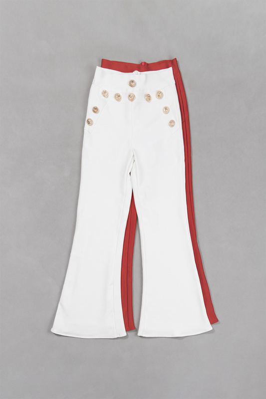 Top Quality Women Pants Red White Button Flare Bandage Pants Newest
