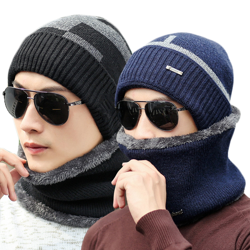 15a1346c541 Fashion Hats Scarf Men Winter Wool Ski Hat scarf Set hooded Cap Earmuffs  Head Caps Male