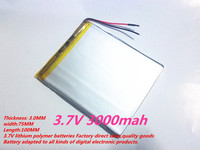 1PCS Free Shipping Size 3075100 3 7V 3000mah Lithium Polymer Battery For IPad 3 Tablet PCs