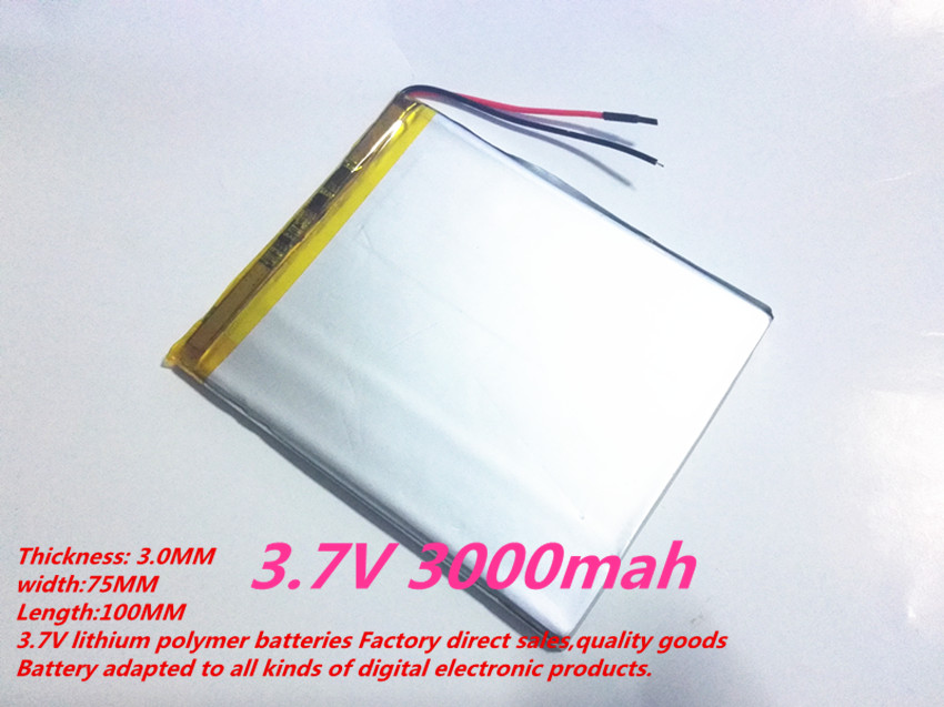 1PCS free shipping Size 3075100 3.7V 3000mah Lithium polymer Battery For iPad 3 Tablet PCs PDA Digital Products