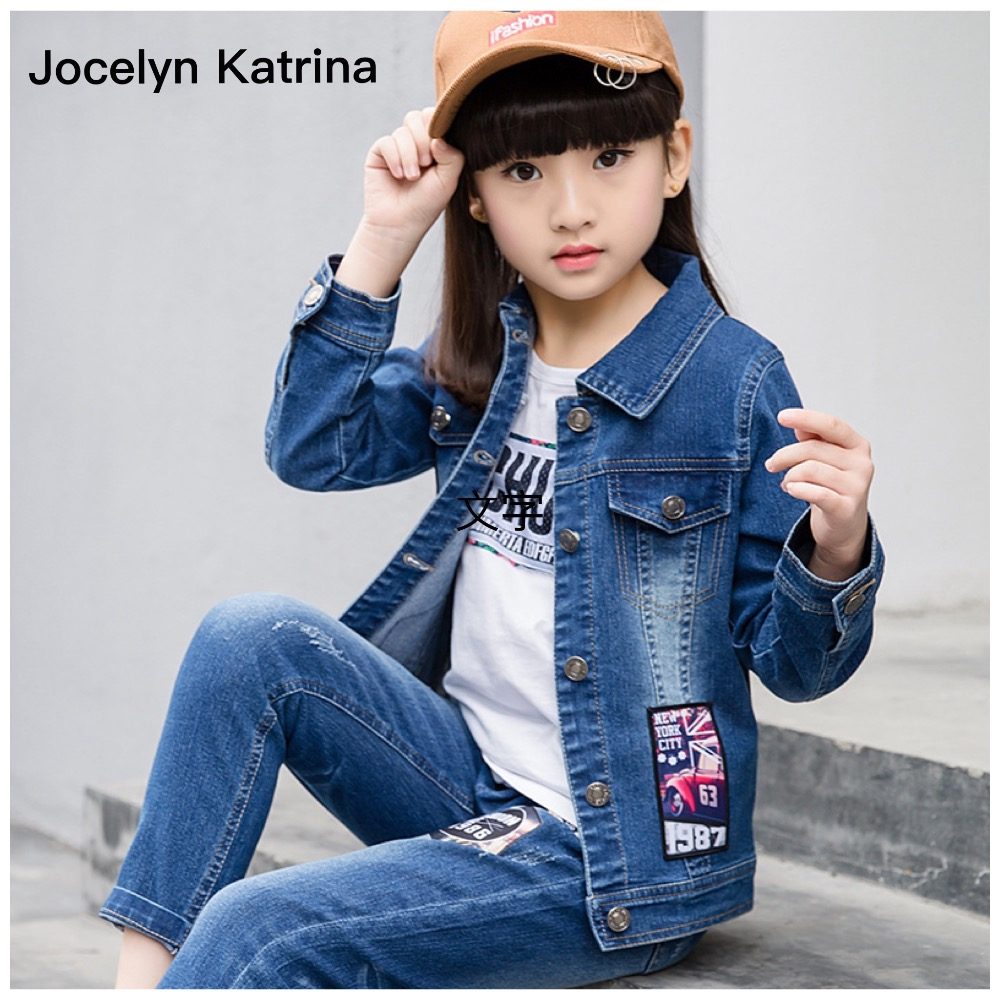 ФОТО Jocelyn Katrina Hot sales Girls Cowboy set long-sleeved cloth+ long jeans LOVE red lips 2016 spring autumn fashion cute