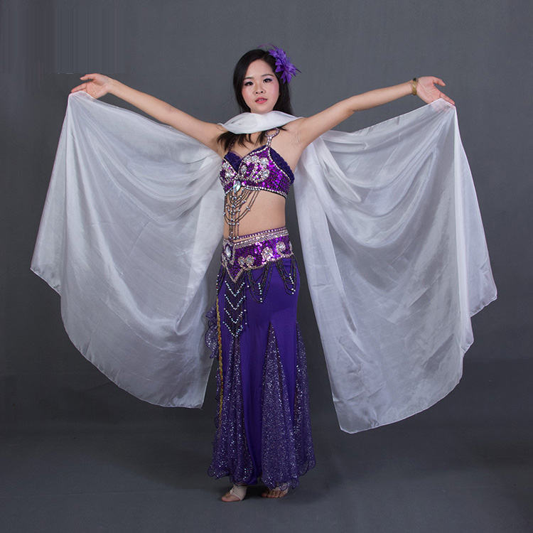 Hot Sale 8 Colors Dyed 100% Pure Natural Silk Veils For Belly Dance 270cm Long For Dancer Show On The Stage Hand Veil