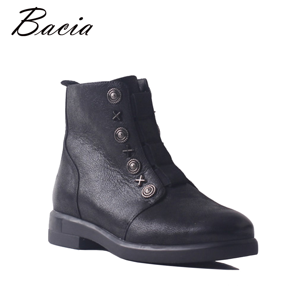 Bacia Warm Ankle Boots For Winter Black Full Grain Cow Leather with Zipper Female Brief Design Fashion Style Walking Shoes SB083