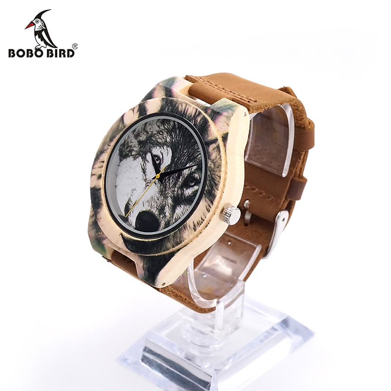 BOBO BIRD V-J21 Wooden Men Watch 3D Printing Wolf Head Icon Dial Quartz-watch Wood Clock in Gift Box relojes hombre 2016 bobo bird monkey watch wooden relojes quartz men watches casual wooden color leather strap watch wood male wristwatch for gift