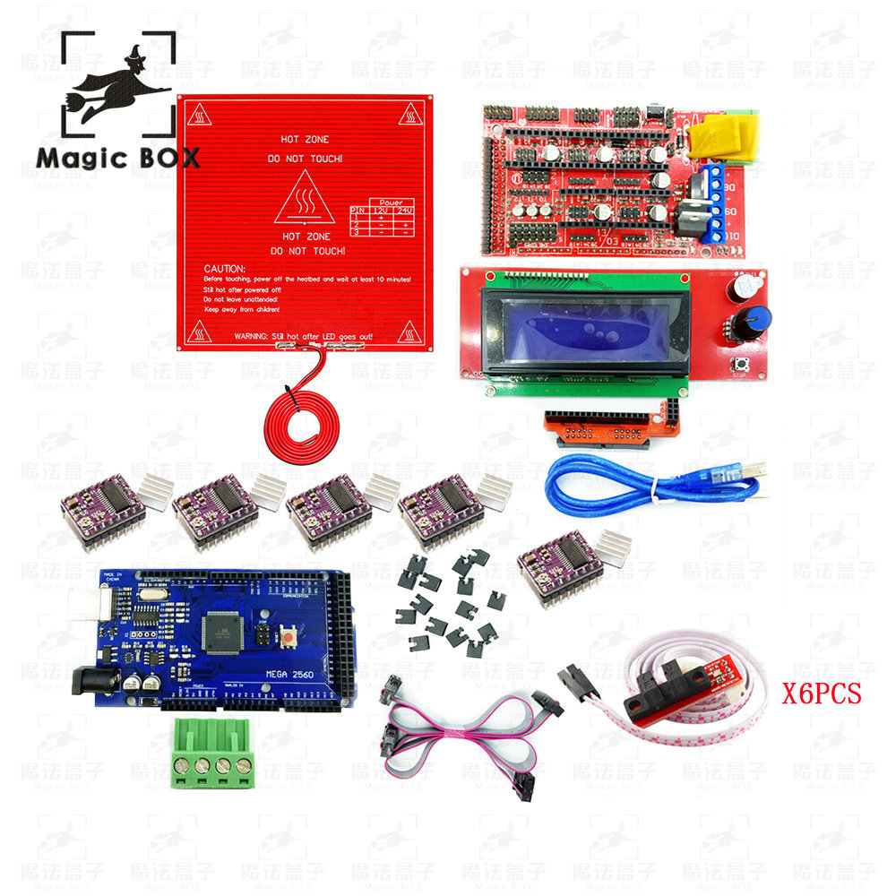 3D Printer parts Kit RAMPS 1.4 Controller + LCD 2004 + 6 Optical Switch Endstop + 5 DRV8825+Mega 2560 R3 + Red MK2B 3 pcs new opto optical endstop end stop switch cnc optical endstop using tcst2103 photo interrupter