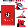 Magnetic 360 Rotating Smart Stand Case for Apple iPad Mini 2 with Retina Display ( Auto Wake/Sleep) W/ Film& Stylus (Red)