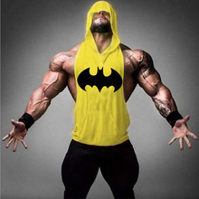 Batman Prints Golds Stringer Hoodies gymnasium Hooded Tank Top Bodybuilding Brand Tee Men Clothing Sweat Shirts Male vest