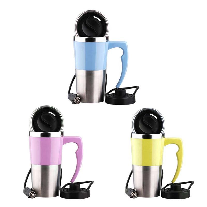 400ml 12V 4Color Car Mini Car Electric Cup Stainless Steel Kettle Travel Trip Coffee Tea Heated Mug Motor Hot Water For Car Use