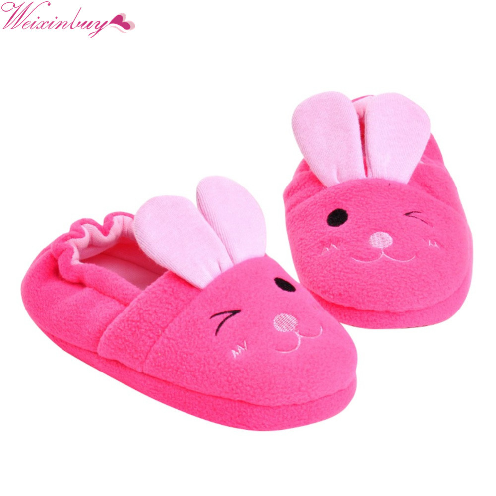 Cute Home Slippers Kids Cartoon Rabbit Style Flat Heels Baby Girl Shoes Soft Cotton Warm Non-slip Baby Boy Slipper