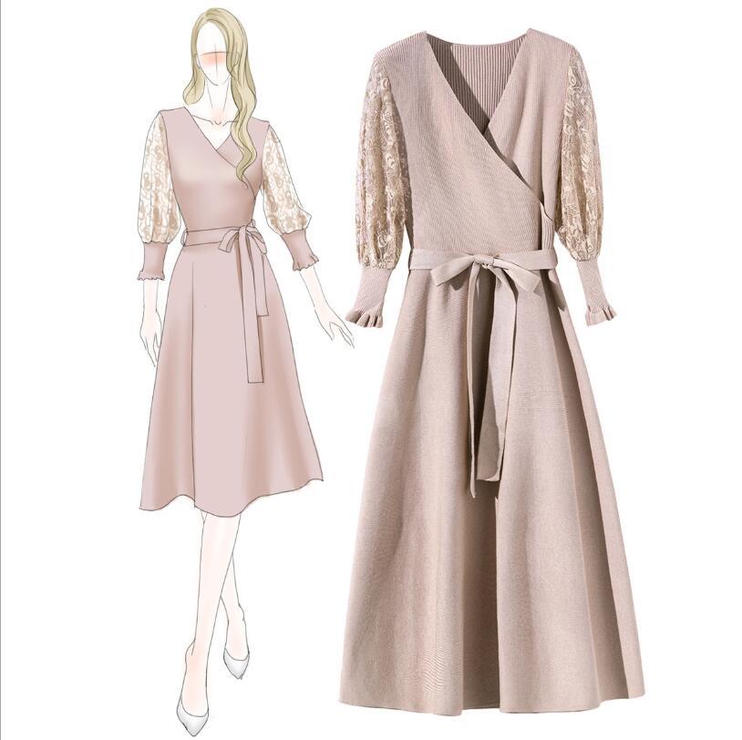 Nouveau tempérament v-cou dentelle lanterne manches longues slim mode décontracté fête tricot robe femme automne
