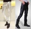 Мужская тощий искусственные искусственная кожа брюки блестящий серебро черный и золото брюки брюки ночной клуб сценические костюмы для певцов танцор мужской 3XL