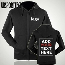 URSPORTTECH Customized With Own Logo Pullover Zipper Hoodies Men Printed Thick Sweatshirt Hoodie Plus Size 2XL