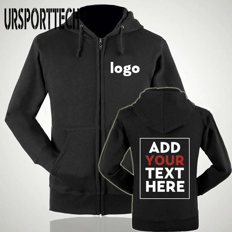 URSPORTTECH Customized With Own Logo Pullover Zipper Hoodies Men Printed Thick Sweatshirt Customized Zipper Hoodie Plus Size 2XL