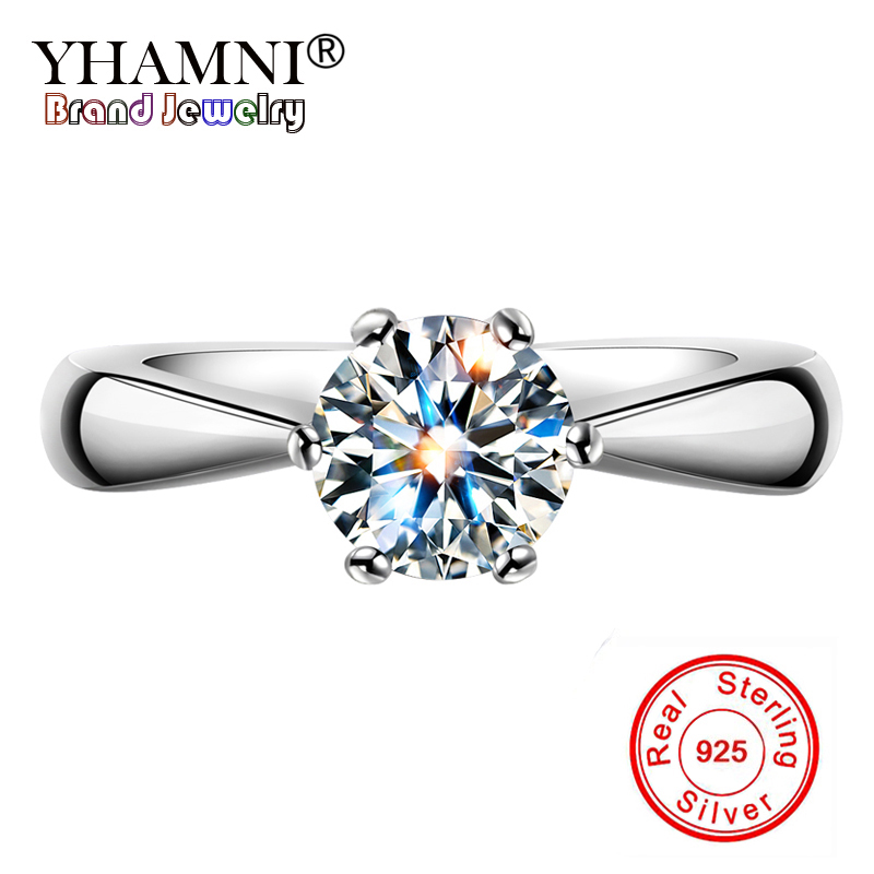 YHAMNI Original 100% Genuine Solid 925 Sterling Silver Rings 1 ct Diamant CZ Engagement Jewelry Wedding Rings for Women YL003