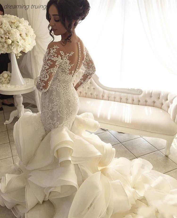 Sheer Lace Long Sleeve Satin Mermaid Wedding Dresses: Saudi Arabian Puffy Tiered Train Wedding Dresses Long