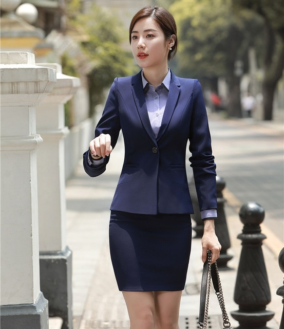 Formal Navy Blue Blazer Women Business Suits With Skirt And Jacket