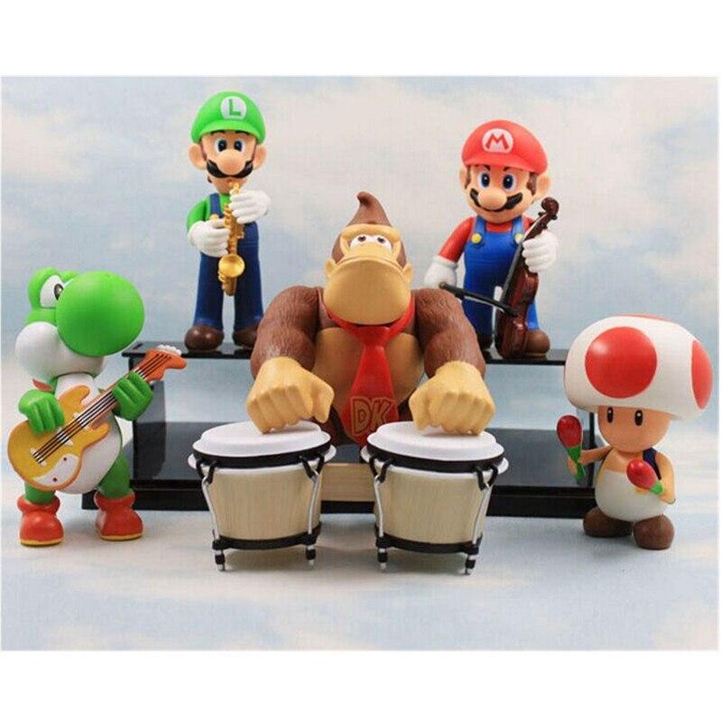 5pcs/set PVC 8-12cm Super Mario Bros Luigi Mario Action& Toys Figure,  Donkey Kong  Mushtoon Dragon Figure Toy, Anime Brinquedos super mario bros action pvc figure toys 2 options 9pcs set 12cm height for xmas gift