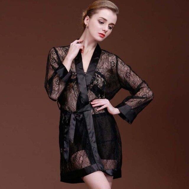 9d0bb2459a86 Noir Dentelle Tentation Mode Femmes Satin Robes Peignoir Avec Ceinture Sexy  Charme Kimono Lingerie De nuit