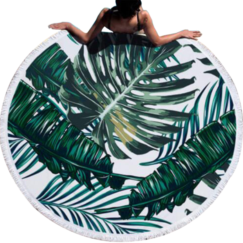 Urijk Printed Tropical Leaves Flower Beach Towel Round Microfiber Beach Towels for Living Room Home Decor Boho Style Bath Towels personality bikini boho tropical coconut tree round beach towel scarf throw yoga mat