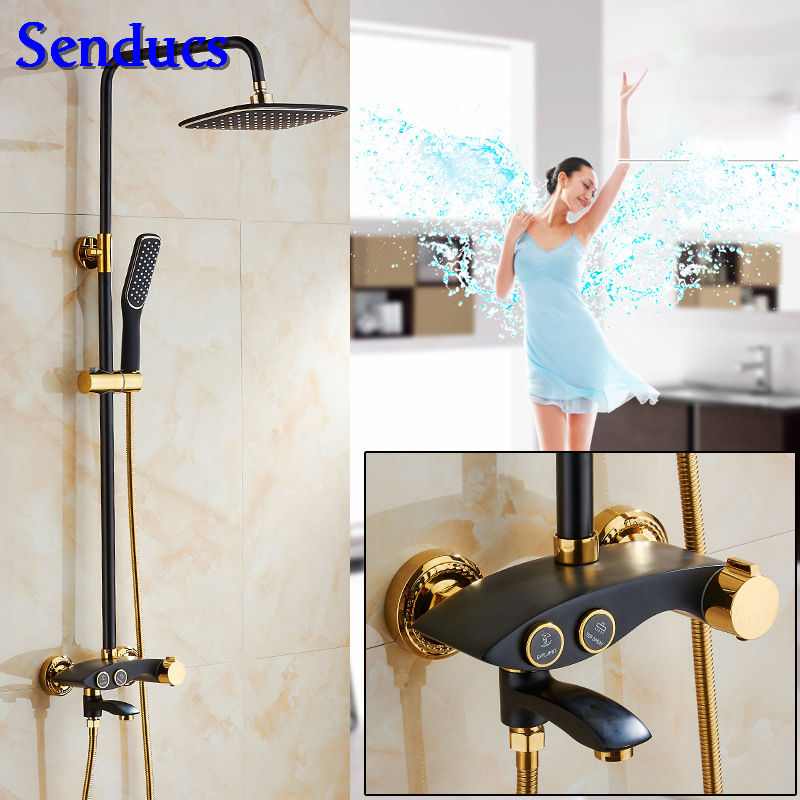 Senducs Black Gold Shower Set Hot Sale Solid Brass Bathroom Shower Mixer Tap Hot Cold Gold Shower Set Made In ChinaSenducs Black Gold Shower Set Hot Sale Solid Brass Bathroom Shower Mixer Tap Hot Cold Gold Shower Set Made In China