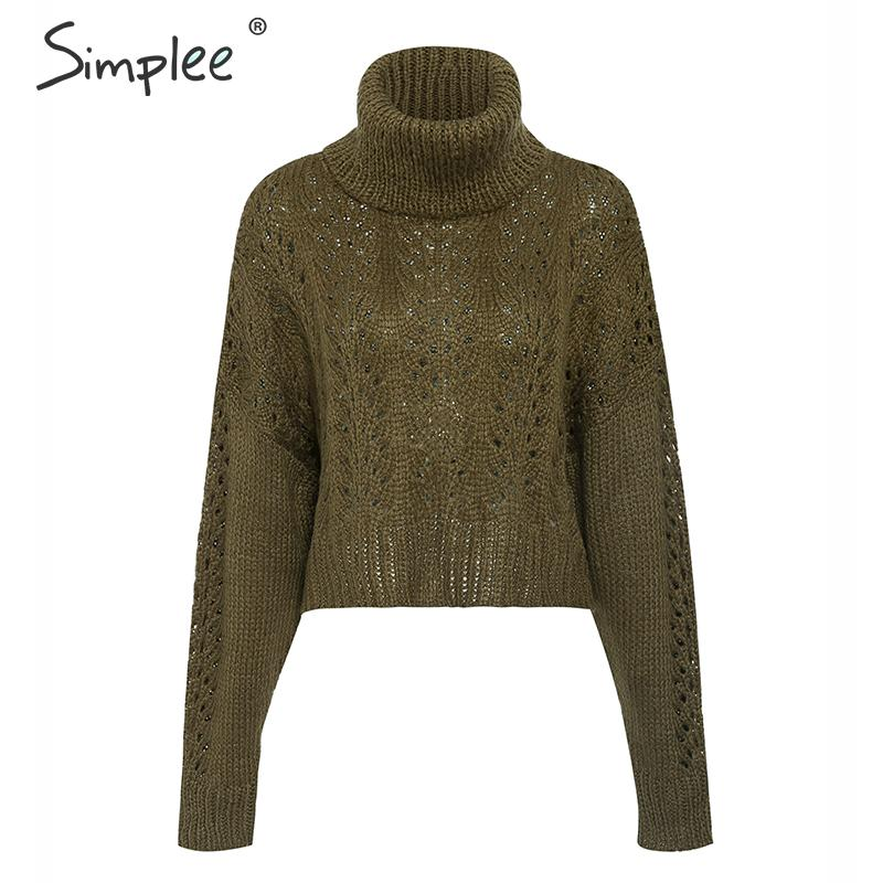Simplee Turtleneck hollow out knitted sweater women pullover Drop long sleeve lady sweater Casual streetwear winter pull femme