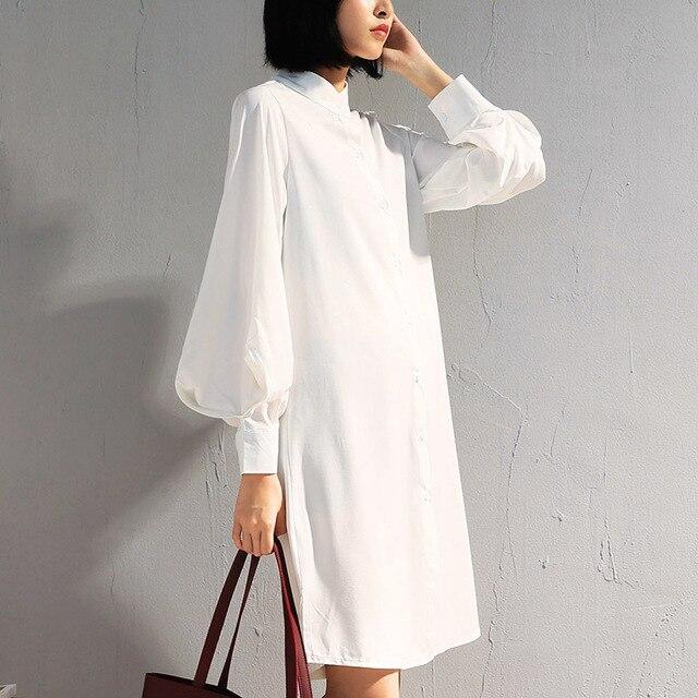 e5fe6a9a57 Largo linterna manga blusa mujeres diseñador de moda Stand Collar manga  larga blanco Tops Retro mujer