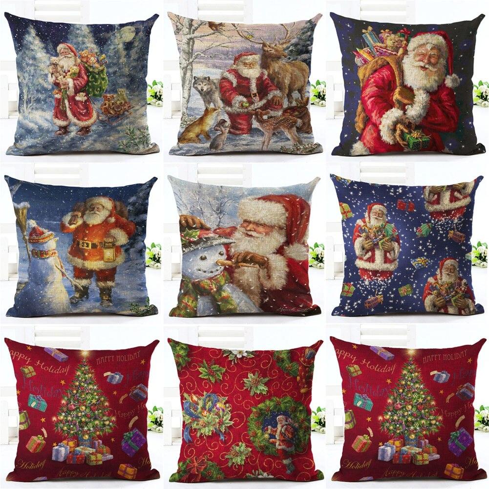 Funny Santa Claus Merry Christmas Motif  Sofa Pillowcase Xmas Gift Home Decor