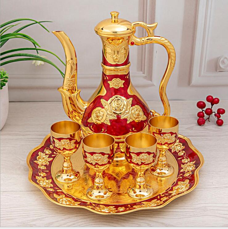 6 pcs/set european decorative metal wine sets whiskey decanter moonshine distiller with wine box for home bar JJ083