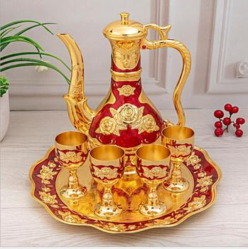 6 pcs/set european decorative metal wine sets whiskey decanter moonshine distiller with wine box for home bar JJ083